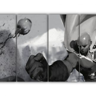4 Panels Realistic Saitama Punch Multi Canvas Art