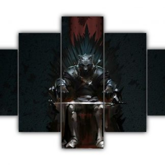 5 Panels Robb Stark On The Iron Throne Multi Canvas Art