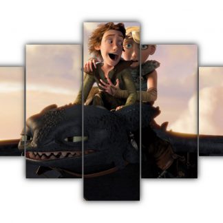 5 Panels Romantic Flight of Hiccup And Astrid Multi Canvas Art