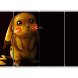 4 Panels Sad Pikachu Multi Canvas Art