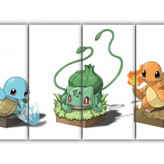 4 Panels Squirtle Bulbasaur and Charmander Multi Canvas Art