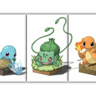 3 Panels Squirtle Bulbasaur and Charmander Multi Canvas Art
