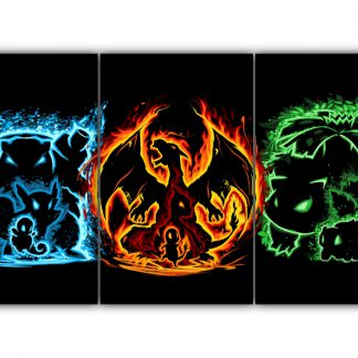 3 Panels Squirtle Charmander and Bulbasaur Multi Canvas Art