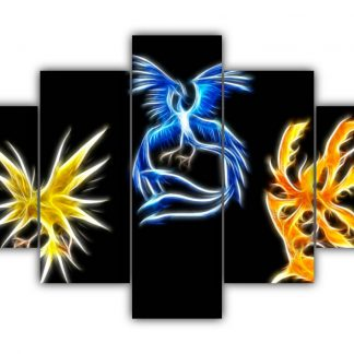 5 Panels Three Mystical Pokemon Multi Canvas Art