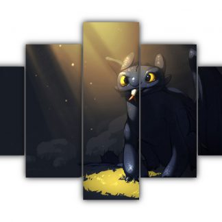 5 Panels Toothless (Alpha Of Dragons) Multi Canvas Art