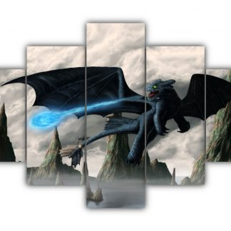 5 Panels Toothless Plasma Blasts Multi Canvas Art