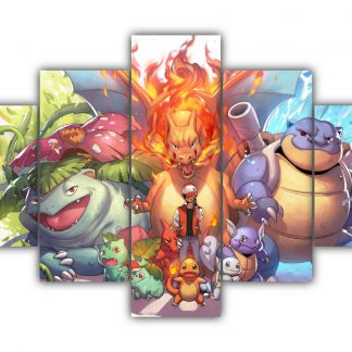 5 Panels Transformed Pokemon Multi Canvas Art