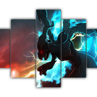 5 Panels White Kyurem Multi Canvas Art