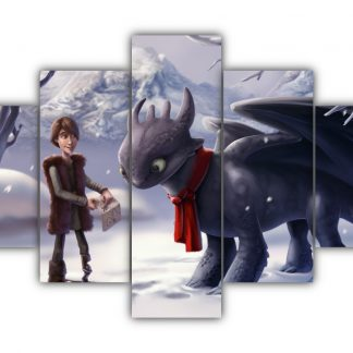 5 Panels Hiccup And Toothless In Snow Multi Canvas Art