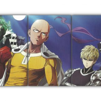 3 Panels One Punch Man Cast Multi Canvas Art