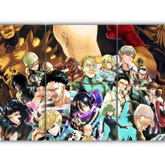 3 Panels One Punch Man Character Collage Multi Canvas Art
