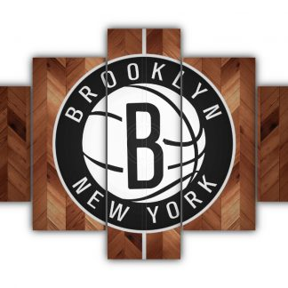 5 Panels Brooklyn Nets Logo Multi Canvas Art