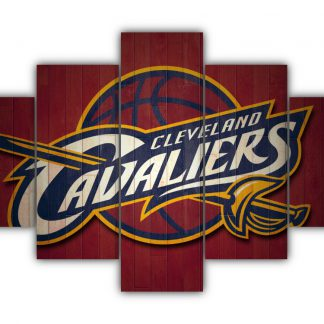 5 Panels Cleveland Cavaliers Logo Multi Canvas Art