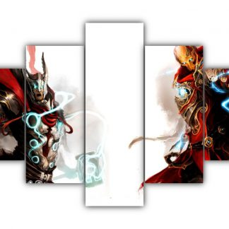 5 Panels Iron Man vs Thor Multi Canvas Art
