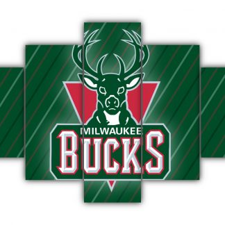 5 Panels Milwaukee Bucks Logo Multi Canvas Art
