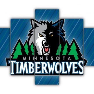 5 Panels Minnesota Timberwolves Logo Multi Canvas Art