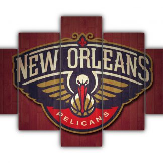 5 Panels New Orleans Pelicans Logo Multi Canvas Art