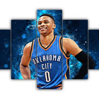 5 Panels Russell Westbrook Multi Canvas Art