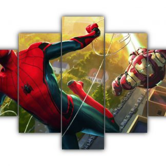 5 Panels Spiderman and Ironman Multi Canvas Art