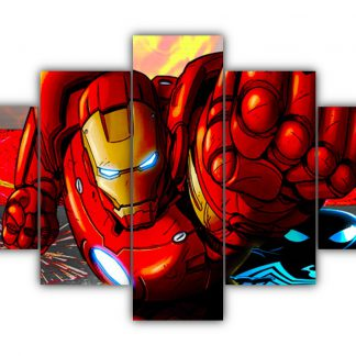 5 Panels Iron Man and Spider Man Multi Canvas Art