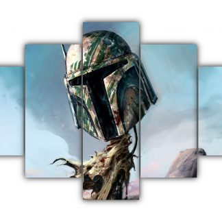 5 Panels Mandalorian Helmet Multi Canvas Art