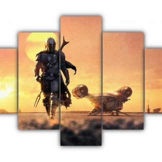 5 Panels The Lone Hunter Multi Canvas Art