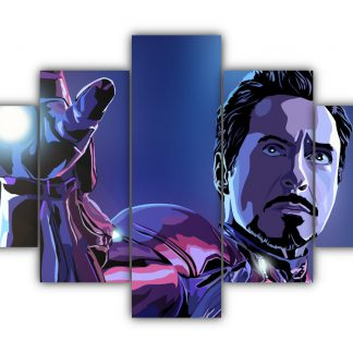 5 Panels Tony Stark Multi Canvas Art