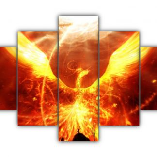 5 Panels Fire Phoenix Multi Canvas Art