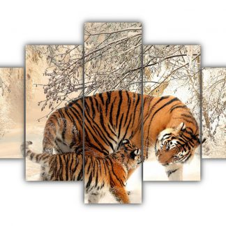 5 Panels Tiger and Cub in Snow Multi Canvas Art