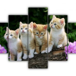 5 Panels Four Ginger and White Kittens on a Log Multi Canvas Art