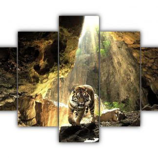 5 Panels The Tiger In Cave Multi Canvas Art