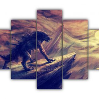 5 Panels The Wolf In Pain Multi Canvas Art