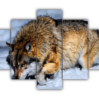 5 Panels Wolf in the Snow Multi Canvas Art