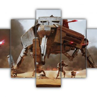 5 Panels AT AP and Stormtroopers Multi Canvas Art