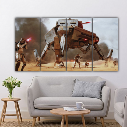 4 Panels AT AP and Stormtroopers Multi Canvas Art