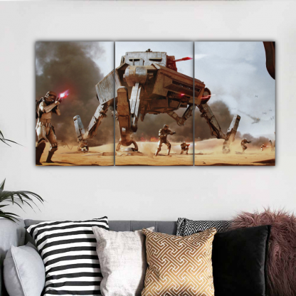 3 Panels AT AP and Stormtroopers Multi Canvas Art