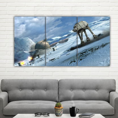 3 Panels AT AT Walker on Ice Multi Canvas Art