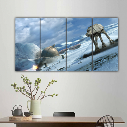 4 Panels AT AT Walker on Ice Multi Canvas Art