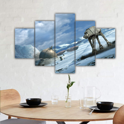 5 Panels AT AT Walker on Ice Multi Canvas Art