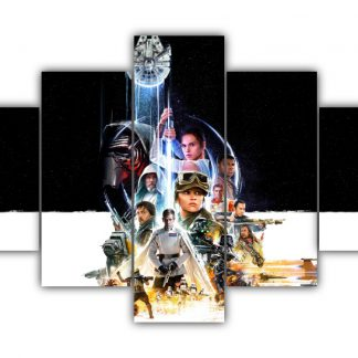 5 Panels All Star Wars character Multi Canvas Art