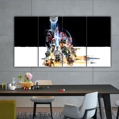 4 Panels All Star Wars character Multi Canvas Art