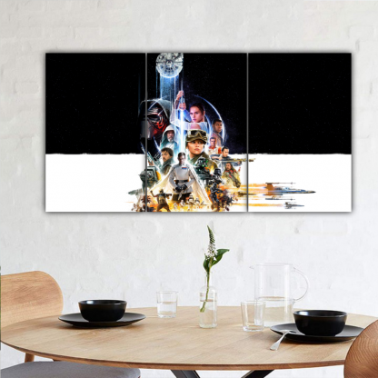 3 Panels All Star Wars character Multi Canvas Art