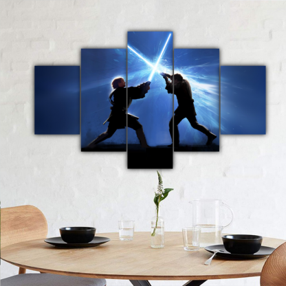 5 Panels Anakin Vs Obi Wan Multi Canvas Art
