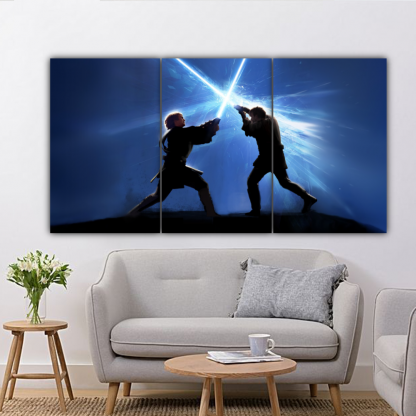 3 Panels Anakin Vs Obi Wan Multi Canvas Art