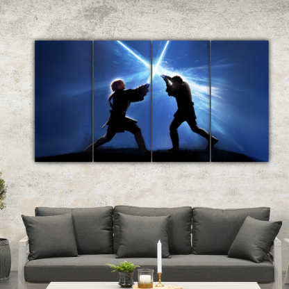 4 Panels Anakin Vs Obi Wan Multi Canvas Art