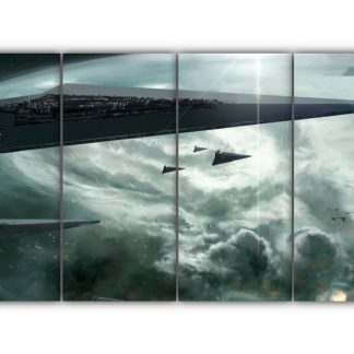 4 Panels Attack Of The Star Dreadnoughts Multi Canvas Art