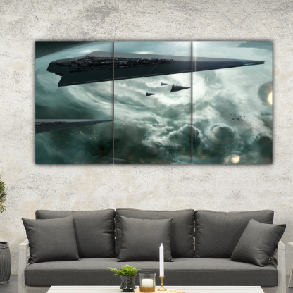 3 Panels Attack Of The Star Dreadnoughts Multi Canvas Art