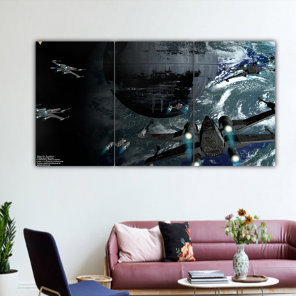 3 Panels Attack the Deathstar Multi Canvas Art
