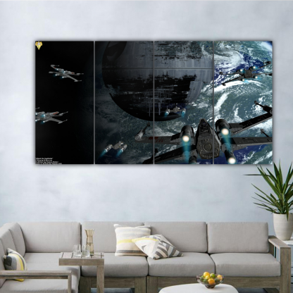4 Panels Attack the Deathstar Multi Canvas Art