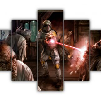 5 Panels Boba Fett and Aliens Multi Canvas Art